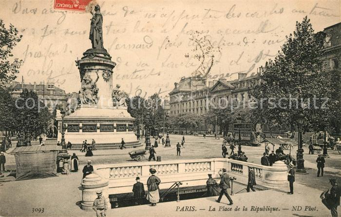 AK / Ansichtskarte Paris La Place de la Republique Kat. Paris