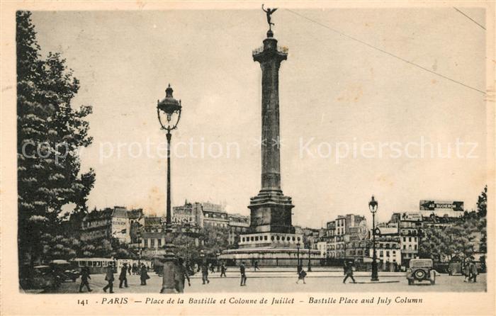 AK / Ansichtskarte Paris Place de la Bastille et Colonne de Juillet Bastille Place and July Column Kat. Paris