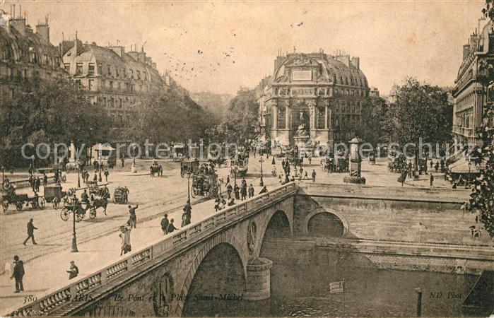 AK / Ansichtskarte Paris Le Pont et la Place Saint Michel Kat. Paris