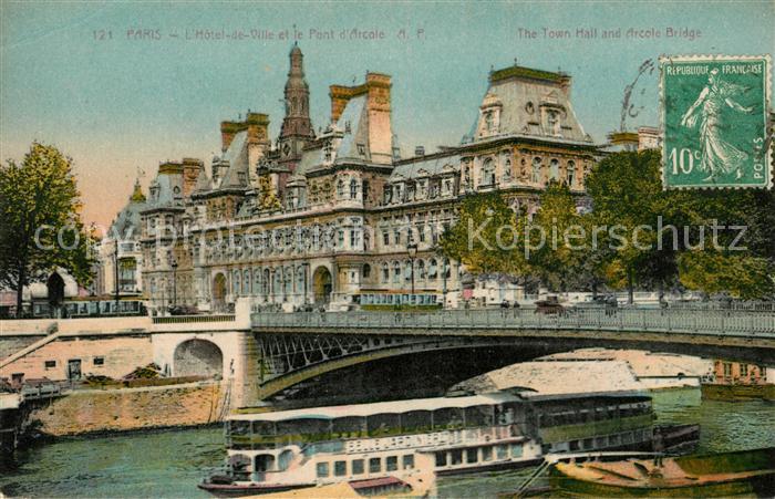 AK / Ansichtskarte Paris Hotel de la Ville et le Pont d Arcole Kat. Paris
