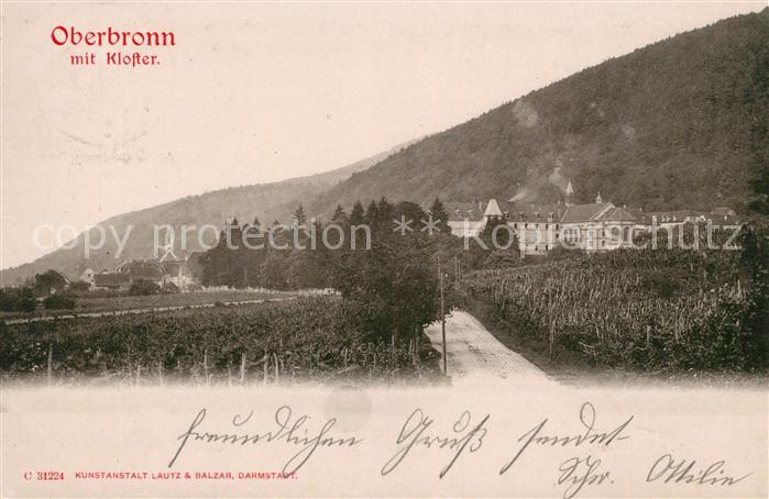 AK / Ansichtskarte Oberbronn Bas Rhin Elsass mit Kloster Kat. Oberbronn