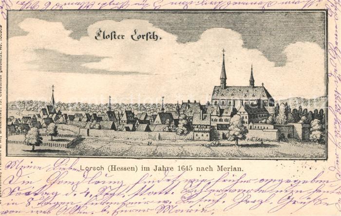 AK / Ansichtskarte Lorsch Hessen Kloster Lorsch um 1645 Zeichnung Kat. Lorsch