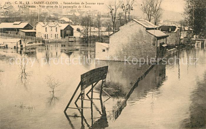 AK / Ansichtskarte Saint Cloud Inondation de Janvier 1910 Les Coteaux Vue prise de la passerelle de l Avre
