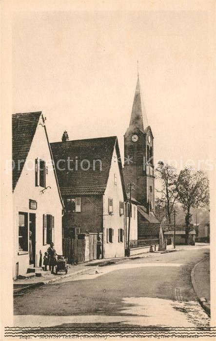 AK / Ansichtskarte Monsweiler Grande Rue et Eglise Protestante