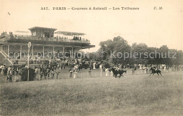 AK / Ansichtskarte Paris Courses a Auteuil Les Tribunes Pferderennen Galopprennbahn Kat. Paris