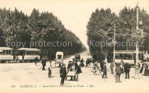AK / Ansichtskarte Marseille Bouches du Rhone Rond Point et Promenade du Prado Tram