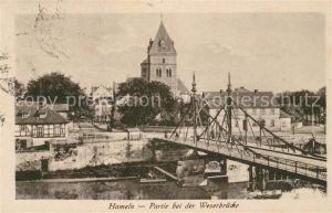 AK / Ansichtskarte Hameln Weser Partie bei der Weserbruecke Kirche
