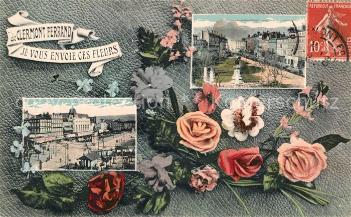 AK / Ansichtskarte Clermont Ferrand Puy de Dome Je vous envoie ces fleurs Vue partielle Kat. Clermont Ferrand