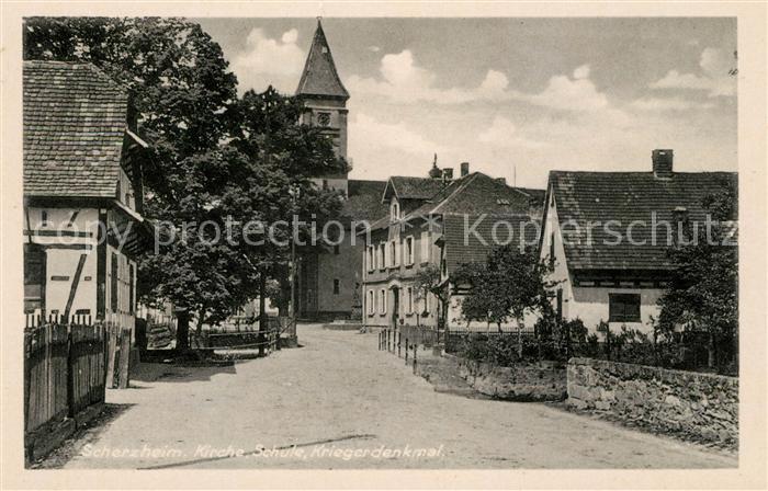 AK / Ansichtskarte Scherzheim Kirche Schule Kriegerdenkmal Kat. Lichtenau