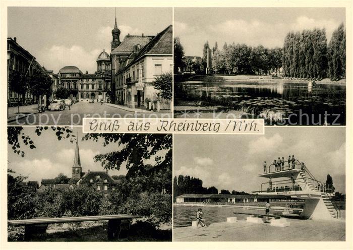 Schwimmbad Rheinberg ak ansichtskarte rheinberg ortspartie schwanenteich kirche