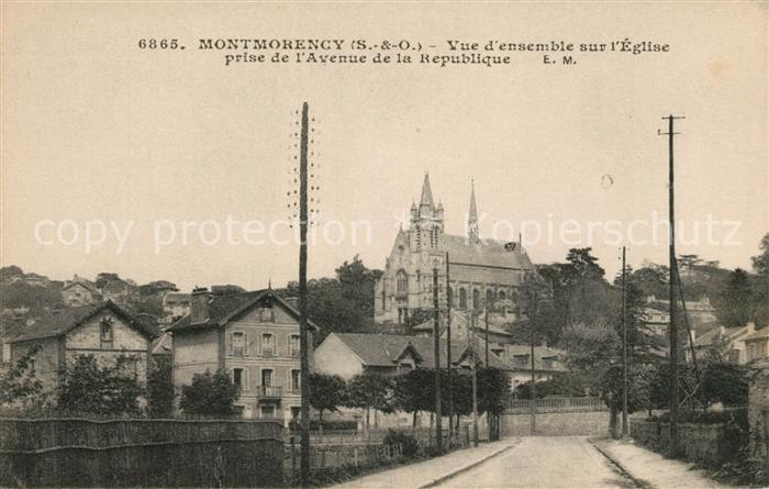 AK / Ansichtskarte Montmorency Vue d'ensemble sur Eglise prise de Avenue de la Republique Kat. Montmorency