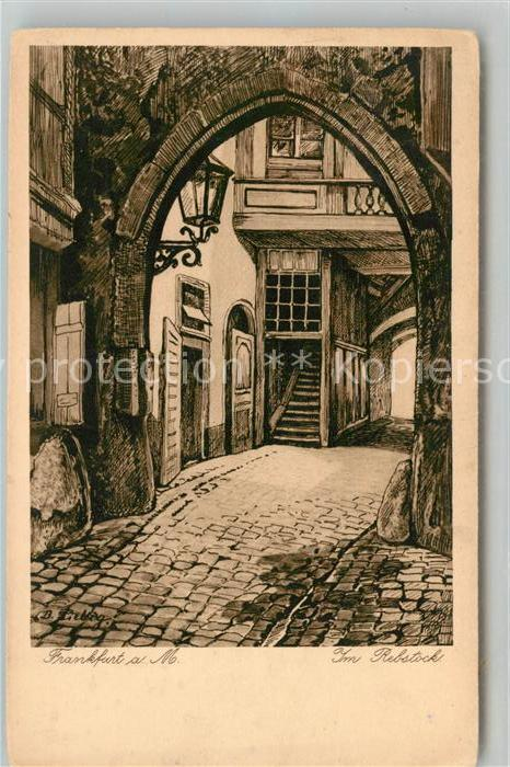 AK / Ansichtskarte Kuenstlerkarte B. Liebig Frankfurt am Main Im Rebstock Kat. Kuenstlerkarte