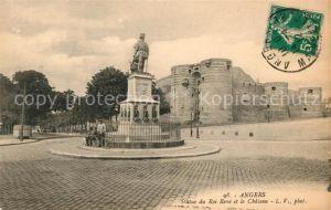 AK / Ansichtskarte Angers Statue du Roi Rene et le Chateau Kat. Angers