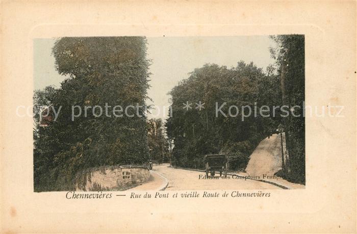 AK / Ansichtskarte Chennevieres sur Marne Rue du Pont et vieille Route de Chennevieres Kat. Chennevieres sur Marne