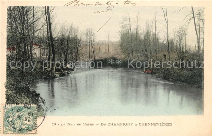 AK / Ansichtskarte Chennevieres sur Marne Le Tour de Marne de Champigny Kat. Chennevieres sur Marne