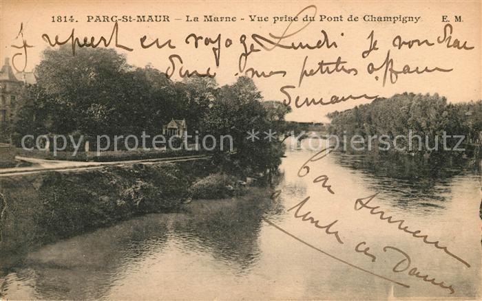 AK / Ansichtskarte Saint Maur des Fosses Parc La Marne vue prise du Pont de Champigny Kat. Saint Maur des Fosses