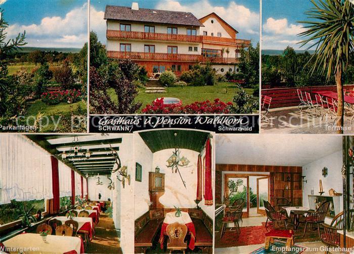 AK / Ansichtskarte Schwann Gasthaus Pension Waldhorn Parkanlagen Wintergarten Halle Kat. Straubenhardt