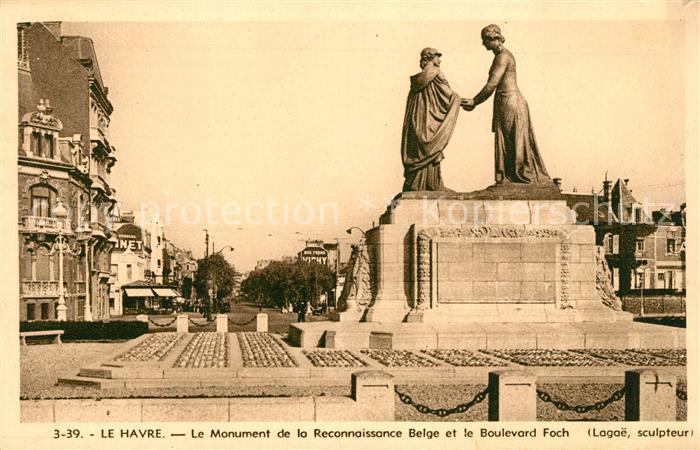 AK / Ansichtskarte Le Havre Le Monument de la Reconnaissance Belge et le Boulevard Foch Kat. Le Havre