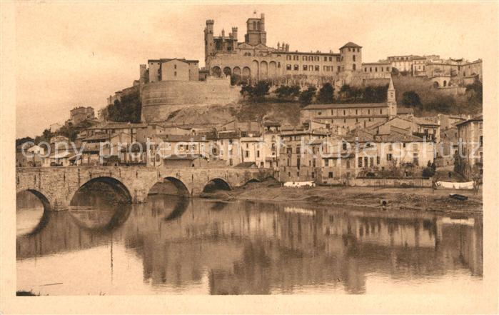 Beziers Le Vieux Pont et la Cathedrale St Nazaire Kat. Beziers