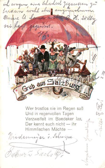 AK / Ansichtskarte Salzburg Oesterreich Unterm Regenschirm Poesie Kuenstlerkarte Kat. Salzburg