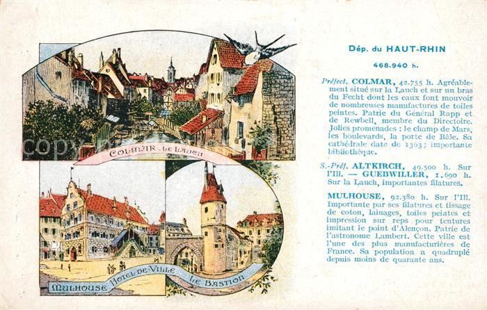 AK / Ansichtskarte Colmar Haut Rhin Elsass mit Altkirch Guebwiller und Mulhouse Kat. Colmar