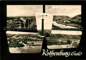AK / Ansichtskarte Rothenburg Saale Landschaftspanorama Saale Schifffahrt