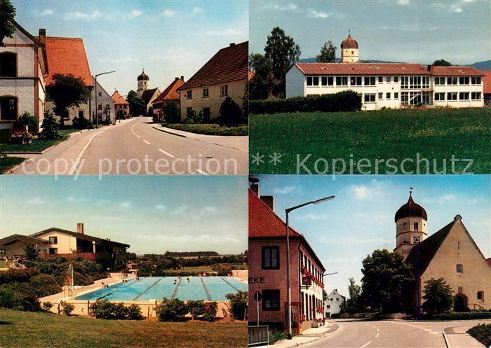 AK / Ansichtskarte Moenchsroth Hauptstrasse Schule Kirche Freibad Kat. Moenchsroth