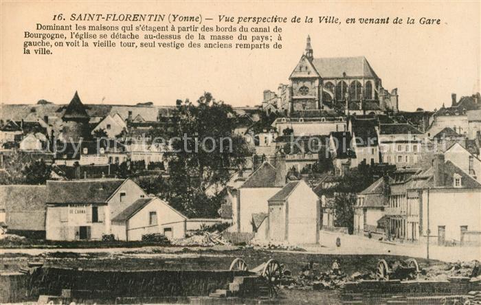 Saint Florentin Yonne Vue perspective de la Ville en venant de la Gare Kat. Saint Florentin