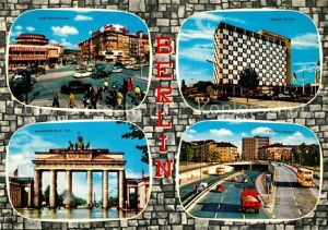 AK / Ansichtskarte Berlin Kurfuerstendamm Berlin Hilton Hotel Brandenburger Tor Stadtautobahn Kat. Berlin