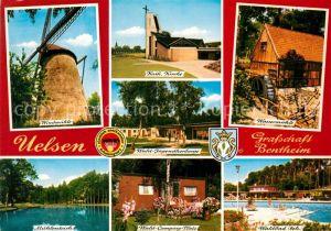 AK / Ansichtskarte Uelsen Windmuehle Kirche Waldjugendherberge Wassermuehle Muehlenteich Campingplatz Waldbad Freibad Kat. Uelsen
