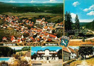 AK / Ansichtskarte Hohegeiss Harz Landschaftspanorama Wolfsbachtal Anlagen Haus Ebersberg Waldbad Freibad Fliegeraufnahme Kat. Braunlage