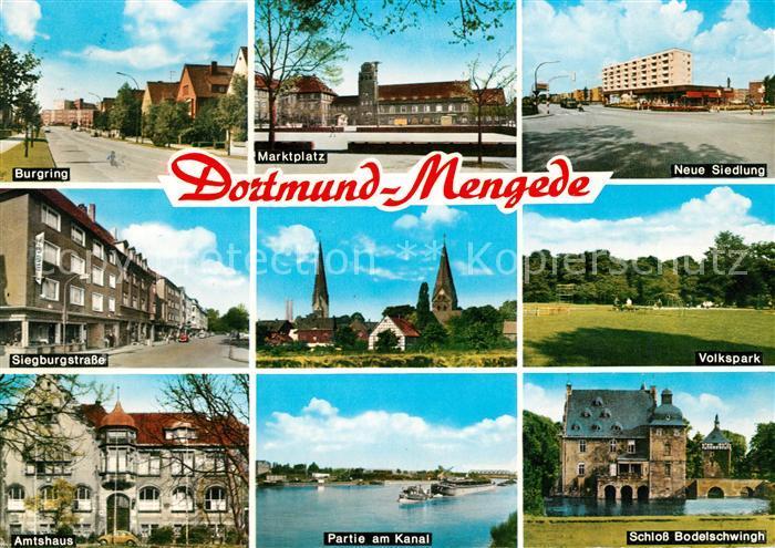 AK / Ansichtskarte Mengede Burgring Marktplatz Neue Siedlung Siegburgstrasse Amtshaus Schloss Kat. Dortmund