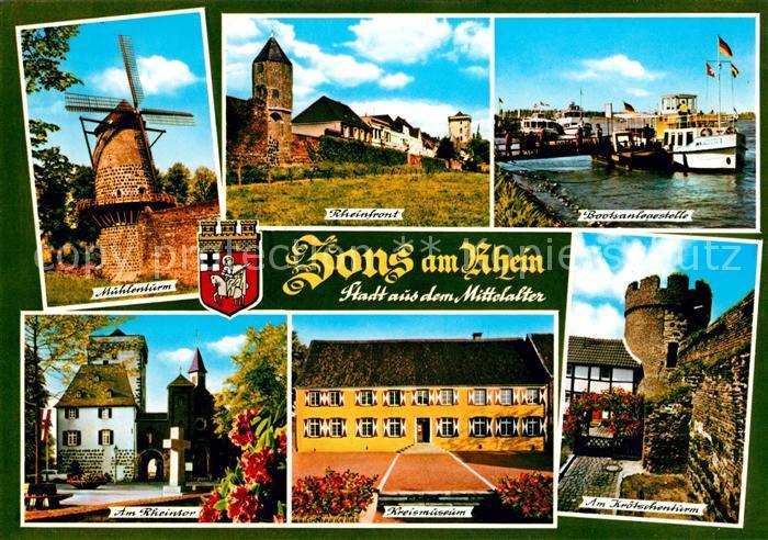 AK / Ansichtskarte Zons Muehlenturm Bootsanlegestelle Rheintor Kreismuseum Kroetschenturm Kat. Dormagen