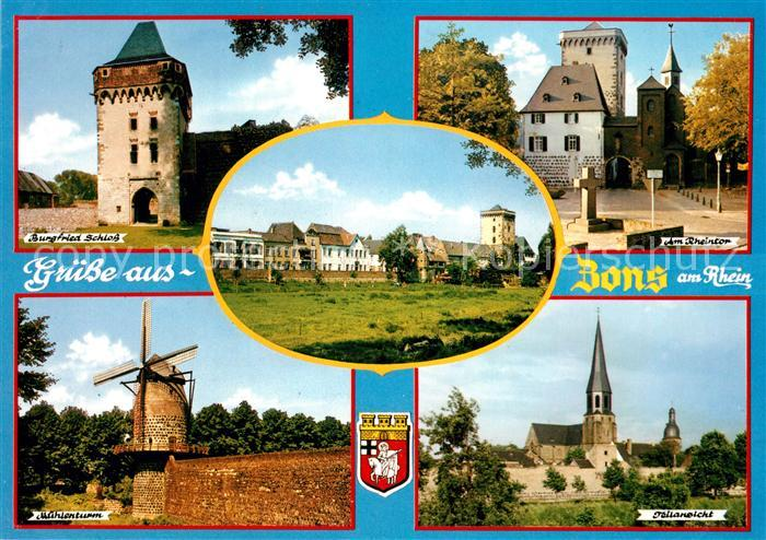 AK / Ansichtskarte Zons Burgfried Schloss Rheintor Muehlenturm Kirche Kat. Dormagen
