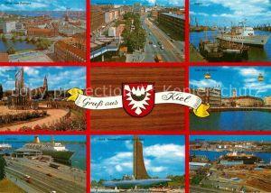 AK / Ansichtskarte Kiel Rathaus Holstenplatz Hafen Alter Bootshafen Oslo Kai Laboe Kat. Kiel