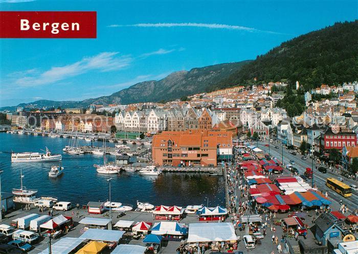AK / Ansichtskarte Bergen Norwegen Fisketorget og Bryggen Kat. Norwegen