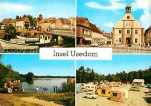 AK / Ansichtskarte Insel Usedom Wolgast Hafen Rathaus Koelpinsee Zempin Campingplatz