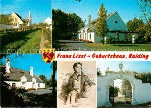 AK / Ansichtskarte Liszt Franz Komponist Geburtshaus Raiding  Kat. Musik