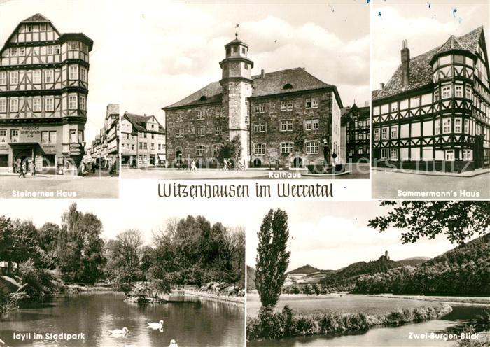 AK / Ansichtskarte Witzenhausen Rathaus Steinernes Haus Sommermanns Haus Stadtpark Kat. Witzenhausen