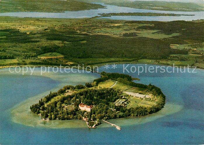 AK / Ansichtskarte Insel Mainau im Hintergrund Insel Reichenau im Untersee Rheinausfluss Fliegeraufnahme Kat. Konstanz Bodensee