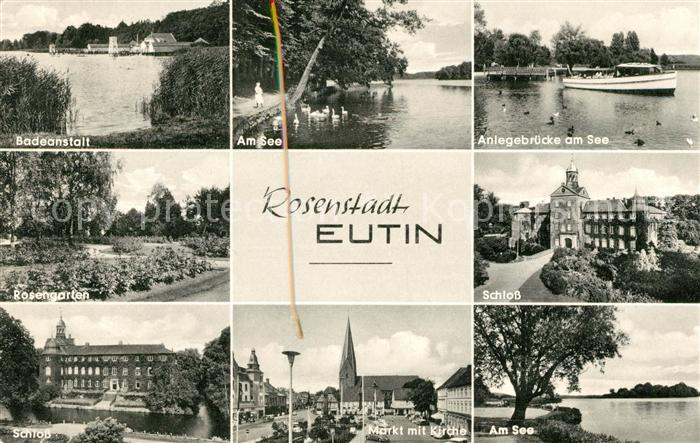 AK / Ansichtskarte Eutin Badeanstalt Am See Anlegebruecke Rosengarten Schloss Markt Kirche  Kat. Eutin