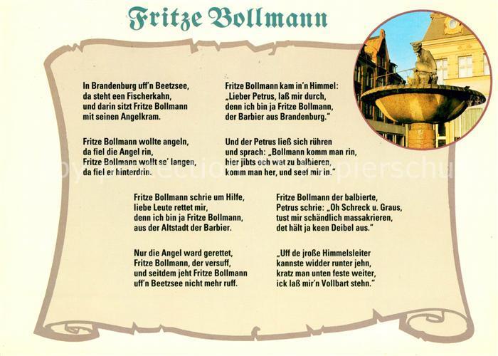 AK / Ansichtskarte Gedicht auf AK Fritze Bollmann  Kat. Lyrik