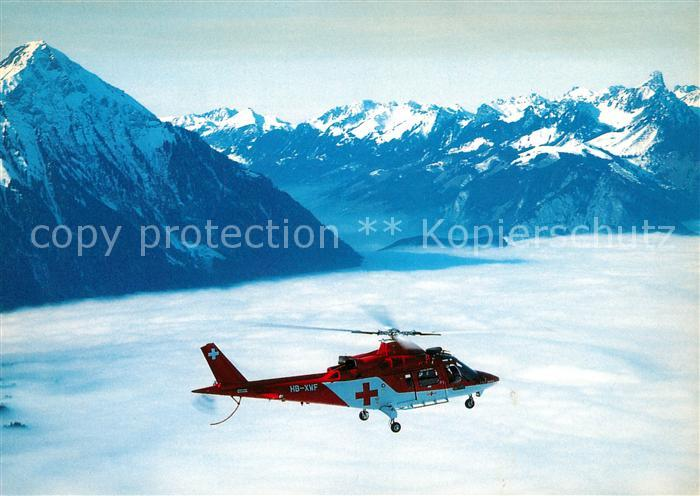 AK / Ansichtskarte Hubschrauber Helikopter Augusta A 109 K2 Rega HB XWF Thunersee Niesen Stockhorn Kat. Flug