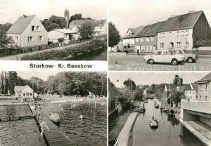 AK / Ansichtskarte Storkow Mark Teilansicht Markt Freibad Storkower See Schleuse Kat. Storkow Mark