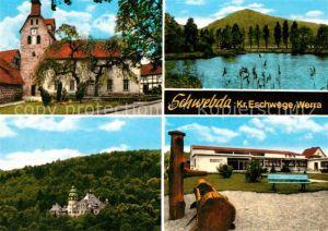 AK / Ansichtskarte Schwebda Werra Kirche Schloss See Holzbrunnen Schule Kat. Meinhard