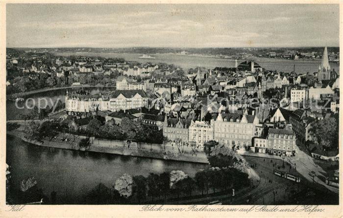 AK / Ansichtskarte Kiel Blick vom Rathausturm auf Stadt und Hafen Kat. Kiel