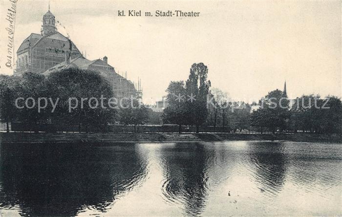 AK / Ansichtskarte Kiel Am kleinen Kiel mit Stadttheater Kat. Kiel