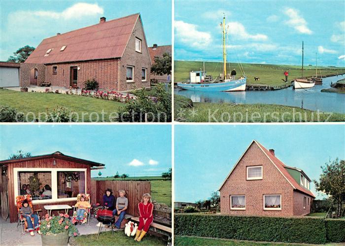 AK / Ansichtskarte Kaiser Wilhelm Koog Urlaub auf dem Lande Ferienhaeuser Boote Kat. Kaiser Wilhelm Koog