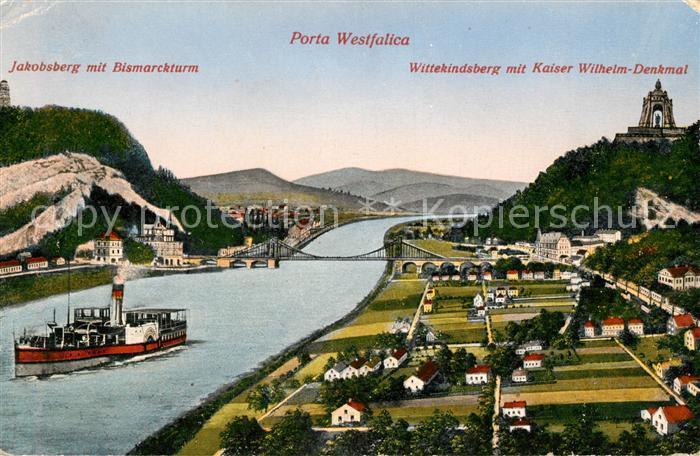 AK / Ansichtskarte Porta Westfalica Jakobsberg mit Bismarckturm Wittekindsberg mit Kaiser Wilhelm Denkmal Kat. Porta Westfalica