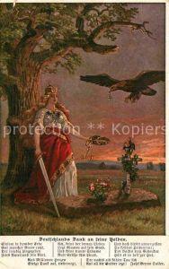 AK / Ansichtskarte Militaria WK1 Adler mit Orden Deutschlands dank an seine Helden Soldatengrab Schwert Kat. WK1